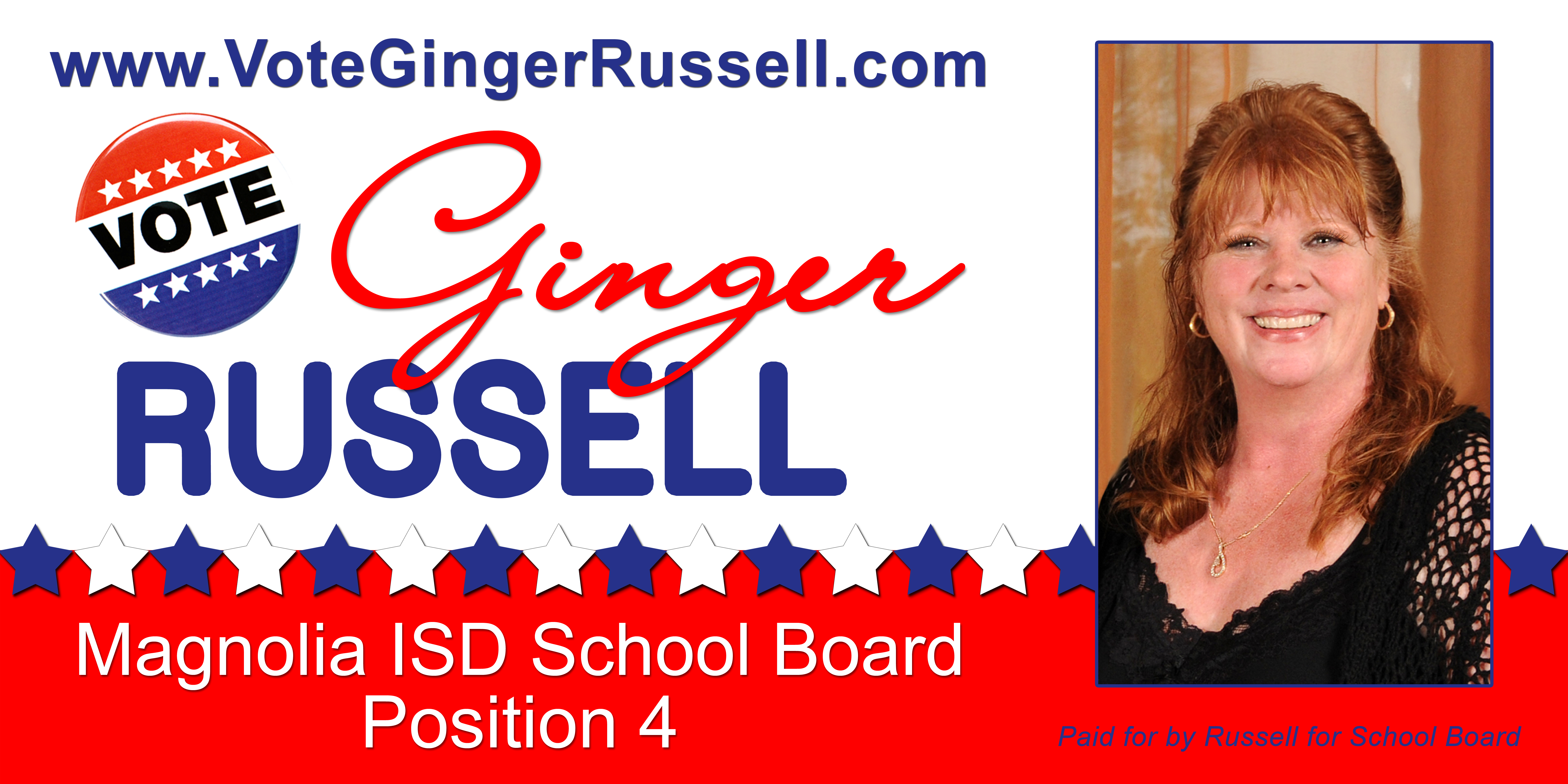 Ginger Russell MSB Car Sign